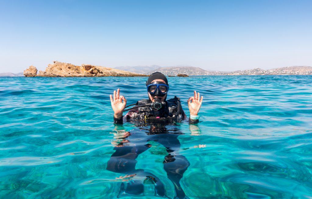 plongeur dans la mer